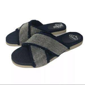 Fergalicious Zena Slide Sandal Denim 7.5 M US